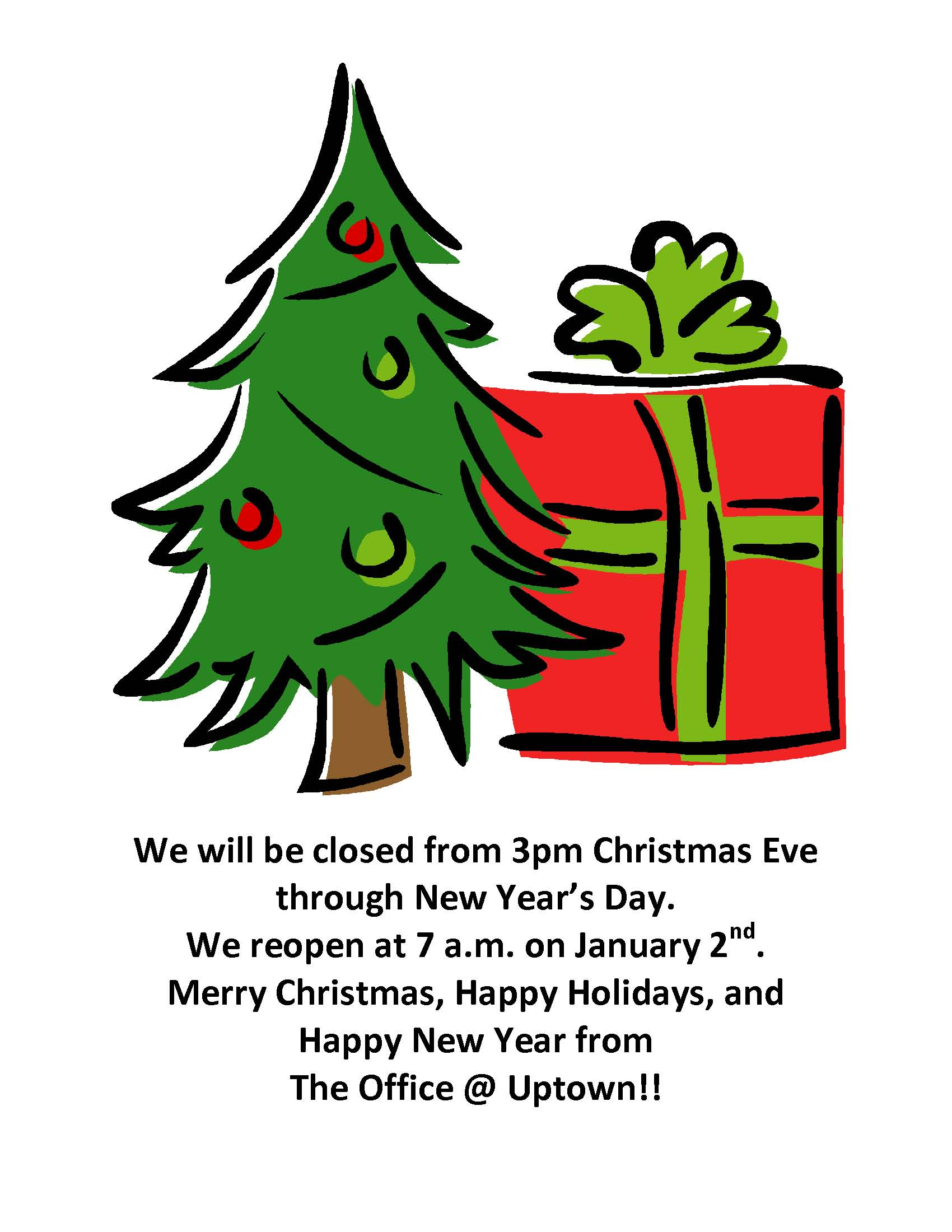 Christmas closing sign, tree